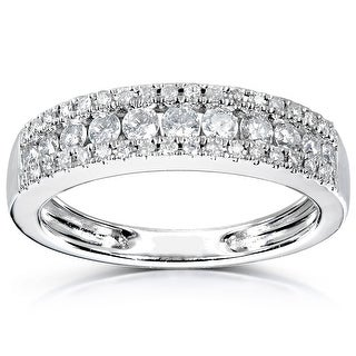Link to Annello by Kobelli 14k White Gold 3-row Diamond Anniversary Band Similar Items in Wedding Rings