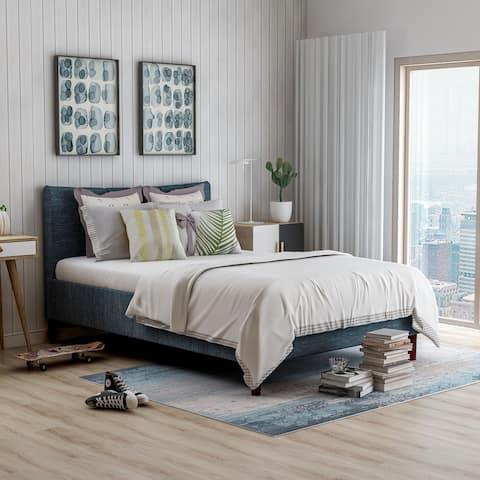 Furniture of America Dusi Contemporary Linen Fabric Platform Bed