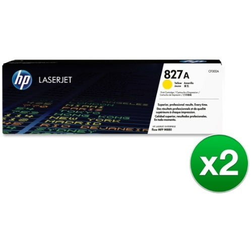 HP 827A Yellow Original LaserJet Toner Cartridge (CF302A)(2-Pack)