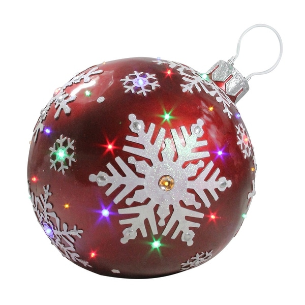 "Shop 18"" LED lighted Red Jeweled Commercial Grade Christmas Ball Ornament with Snowflake - N/A - Free Shipping Today - Overstock - 23596898"