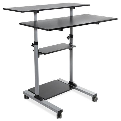 """Mount-It! Mobile Standing Desk Height Adjustable Rolling Desk with 40"""" Wide Table Tops"""