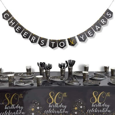 80th Birthday Party Pack, Dinnerware Set and Banner (Serves 24, 170 Pieces)
