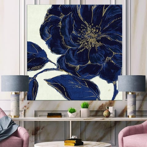 Designart 'Dark Rose Gilded Gold' Floral Canvas Artwork Print
