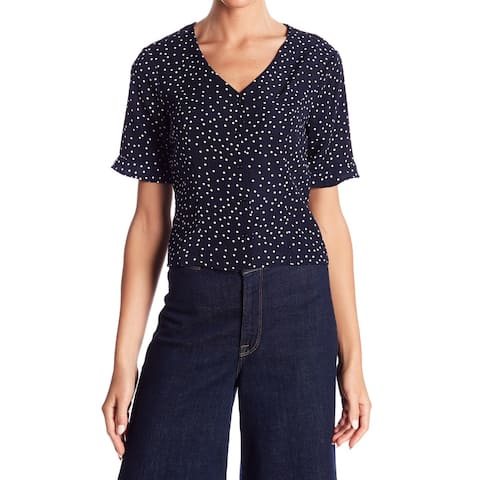 Elodie Blue Womens Size Small S Polka Dot Button Down Knit Top