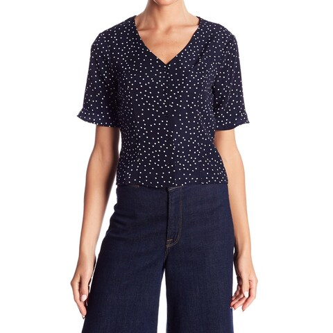 Elodie Navy Womens Polka-Dot Lace-Up-Back Knit Top
