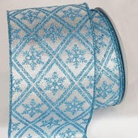 "Shimmering Silver and Baby Blue Christmas Snowflake Wired Craft Ribbon 4"" x 20 Yards"
