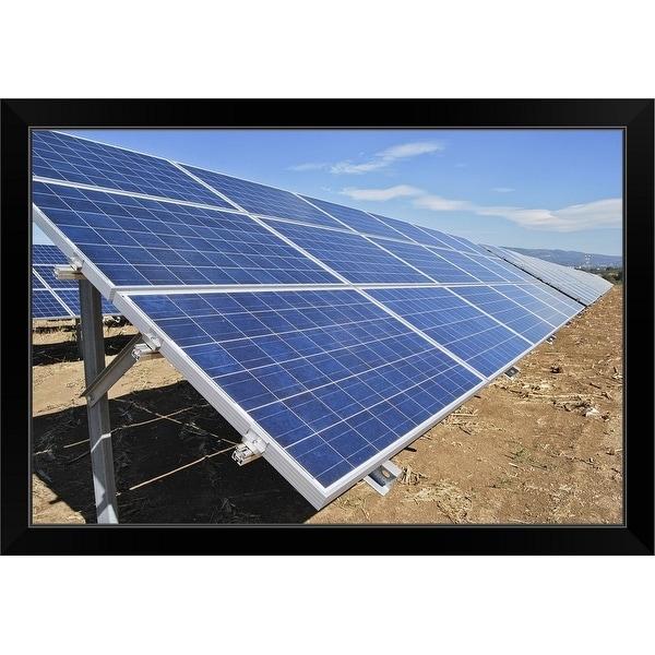 """""""Solar energy panels, Italy"""" Black Framed Print"""
