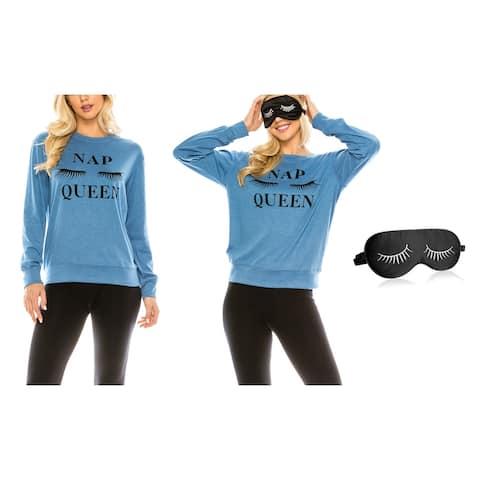 Women's Nap Queen Lounging Themed Christmas Sweatshirt with Eye Mask