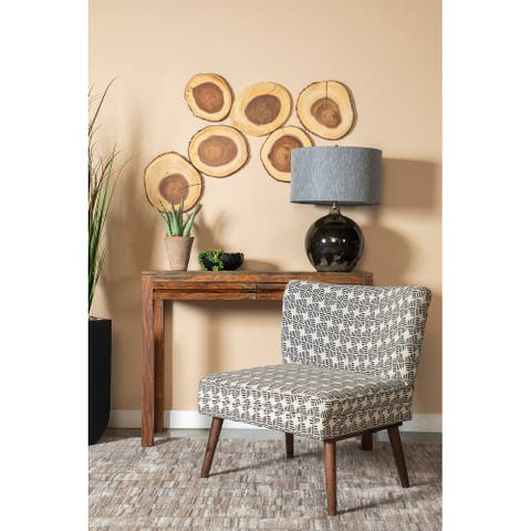 Bistro Black and White Upholstered Accent Chair with Wooden Leg
