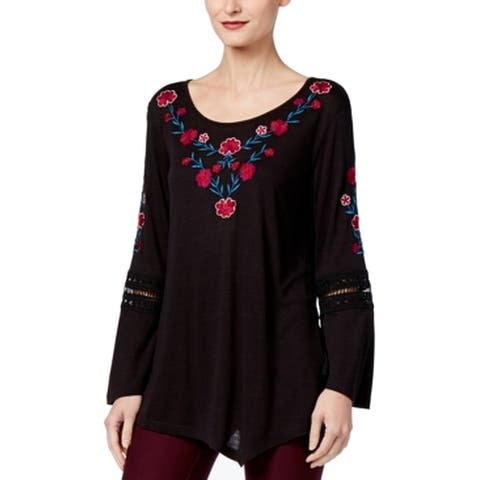 NY Collection Black Women's Size Large L Floral Embroidered Top