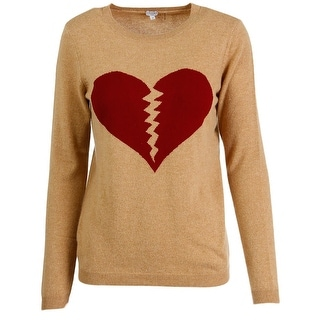 Bela NYC Womens Broken Heart Cashmere Graphic Pullover Sweater - S