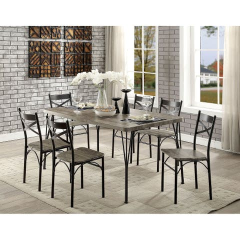 Furniture of America Zath Industrial Bronze Metal 7-piece Dining Set