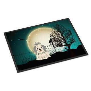 Carolines Treasures BB2275MAT Halloween Scary Shih Tzu Silver White Indoor or Outdoor Mat 18 x 0.25 x 27 in.