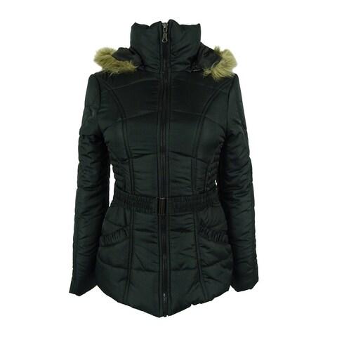 Rampage Women's Faux-Fur-Trim Belted Puffer Coat