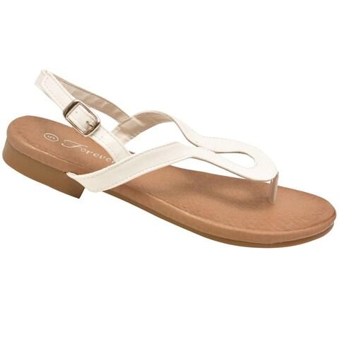 Adult White Curved Shape Thong Strap Buckle Flip Flop Sandals