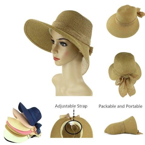 86754b04d35 Women s Lightweight Foldable Packable Beach Sun Hat w Decorative Bow