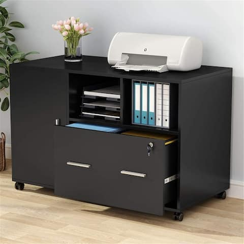 Mobile File Cabinet with Drawer & Lock & Storage Shelves