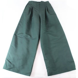 Hunter Bell NEW Green Women's Size 2X33 Wide-Leg Pleated Pants Silk