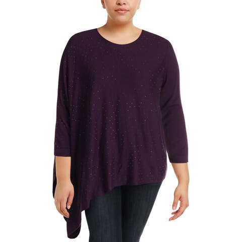 Anne Klein Womens Pullover Sweater Studded Asymmetrical