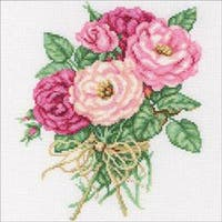 """7.5""""X8.75"""" 14 Count - Rose Bouquet Counted Cross Stitch Kit"""