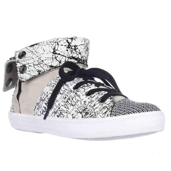 Rebecca Minkoff Spencer Foldover Sneakers, Creme/Black