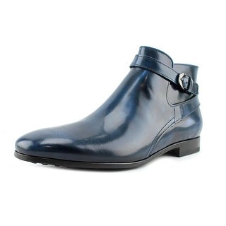Tod's cavallerizzo cuoio iniez gomma Men Round Toe Leather Blue Boot