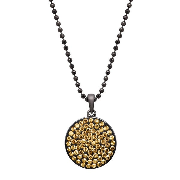 Crystaluxe Disc Pendant with Swarovski Elements Crystals - Yellow
