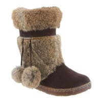 Bearpaw Women's Tama II Solids Mid Calf Boot Chocolate II Rabbit Fur