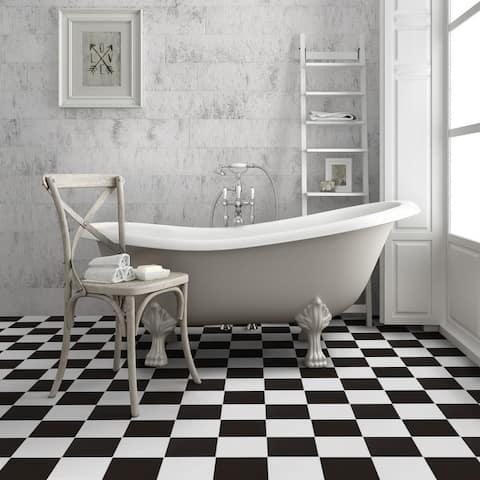 "SomerTile Checker 17.63"" x 17.63"" Ceramic Floor and Wall Tile"