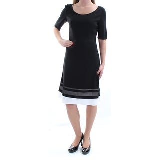 Womens Black White Short Sleeve Knee Length Fit + Flare Evening Dress Size: 2