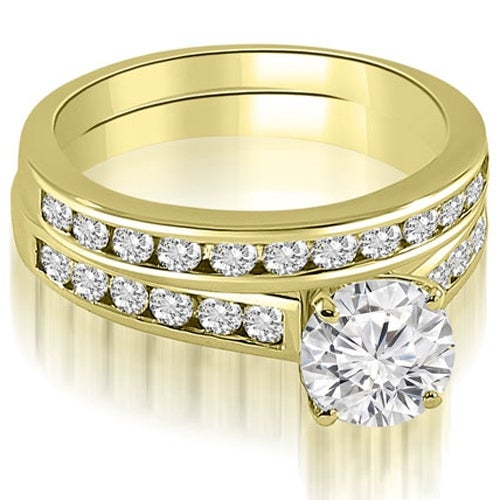 2.02 cttw. 14K Yellow Gold Cathedral Channel Set Round Cut Diamond Bridal Set