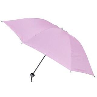 Unique Bargains Unique Bargains Metal 3 Sections Shaft Water Resistant Fabric Rain Umbrella Pink