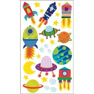Solar System 'n Rocket Ship - Sticko Sparkler Classic Stickers