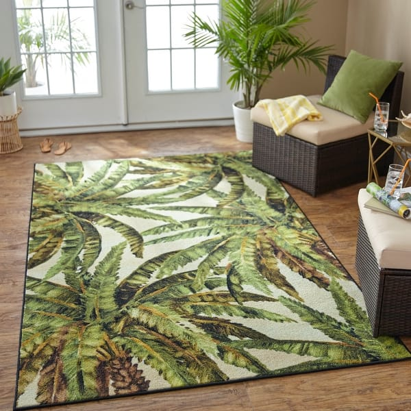 Mohawk Home Prismatic Verde Palm Area Rug On Sale Overstock 22735412 5 X 8 Green Beige