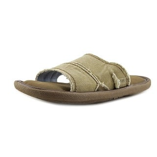 Crevo Fremont II Men Open Toe Canvas Tan Slides Sandal