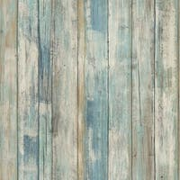 "RoomMates RMK9052WP 20-1/2"" x 198"" - Blue Distressed Wood - Self Adhesive Vinyl Film - 28.18 Sq. Ft. - N/A"
