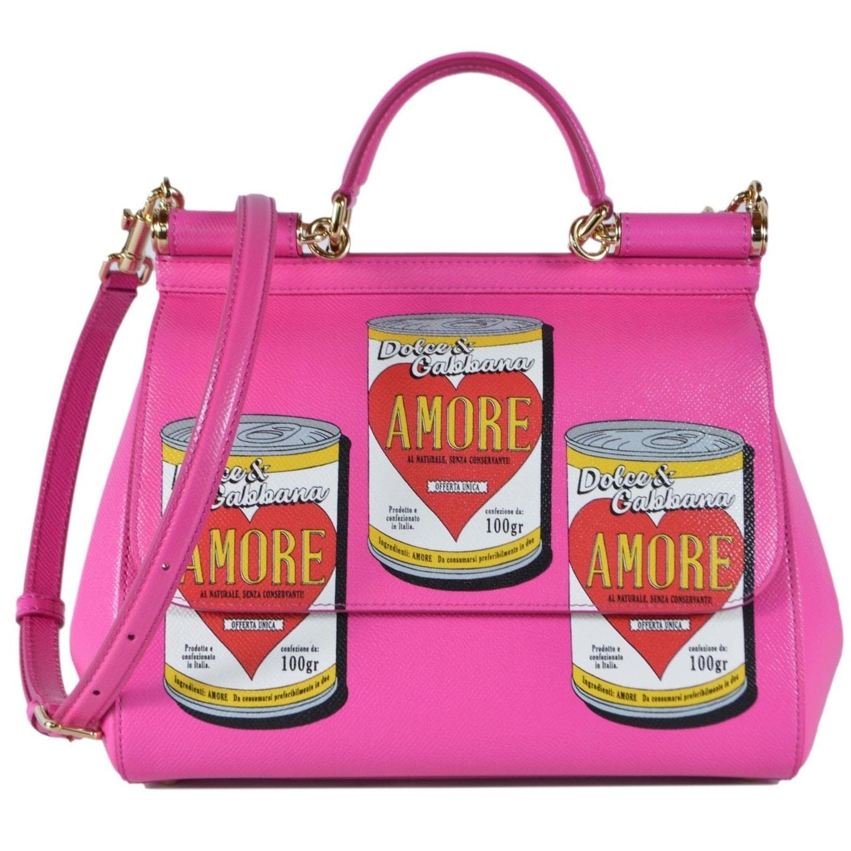 Dolce Gabbana Medium Miss Sicily Amore Can Pink Handbag Purse Bag