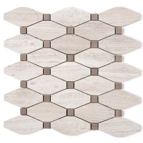TileGen. Long Diamond Shape Cyrstal Random Sized Marble Mosaic Tile in Wooden Beige Floor and Wall Tile (10 sheets/10.8sqft.)