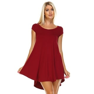 Isaac Liev Women's Flowy V-Neck Short Sleeve Tunic Top