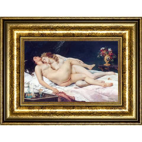 """The Sleepers by Gustave Courbet Giclee Print Oil Painting Gold Frame Size 21"""" x 16"""""""