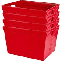 Small Plastic Nesting Storage Totes Red Set Of 4
