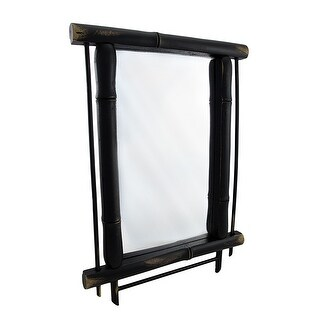 Wall Mounted Mirror with Dark Green Bamboo Frame 19 In. X 14 In.