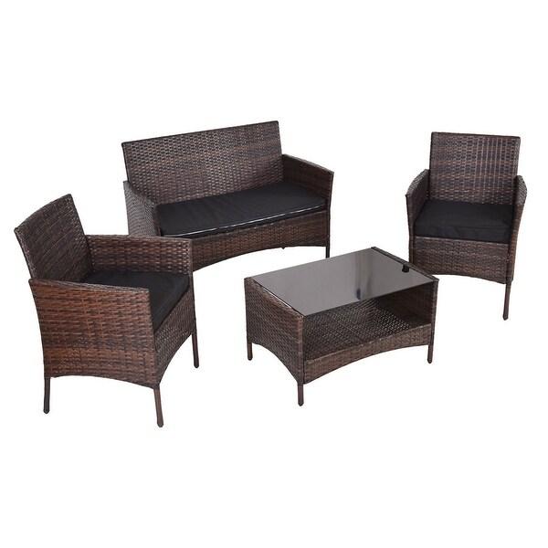 Costway 4 PCS Outdoor Patio Rattan Furniture Set Table Shelf Sofa W/ Black Cushions