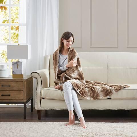Silver Orchid Bogaert Faux Fur Overside Throw Blanket
