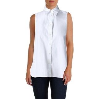 Lauren Ralph Lauren Womens Button-Down Top Convertible Wrap Sleeveless