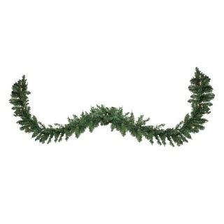 """9' x 12"""" Pre-Lit Buffalo Fir Artificial Christmas Garland - Clear Lights - green"""