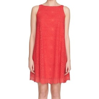 1. State NEW Red Womens Size Medium M Crochet Overlay Shift Dress