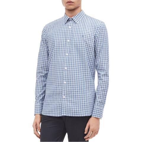 Calvin Klein Mens Cotton Cashmere Plaid Button Up Shirt