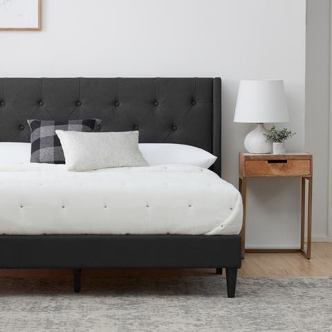 Brookside Bella Button Tufted Wingback Upholstered Bed