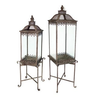 Set of 2 English Garden Elevated Iron and Glass Garden Lanterns on Stands